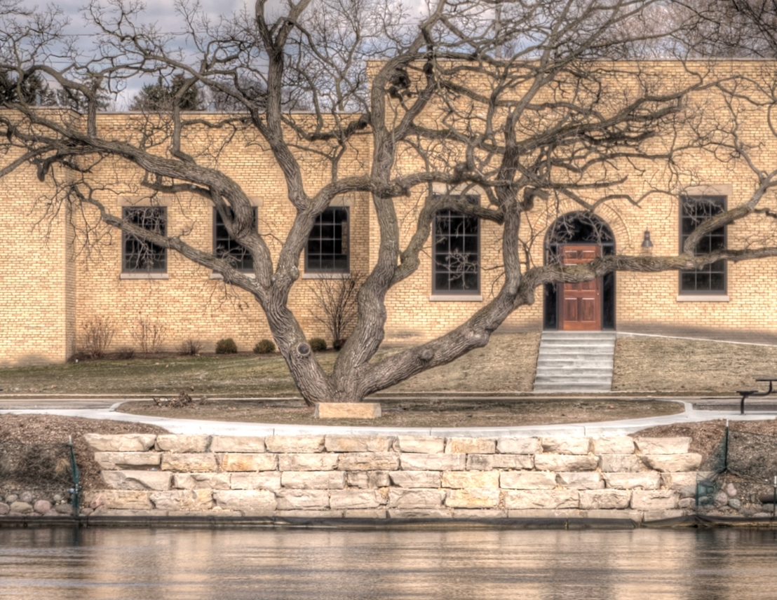 Buildings along the Fox River