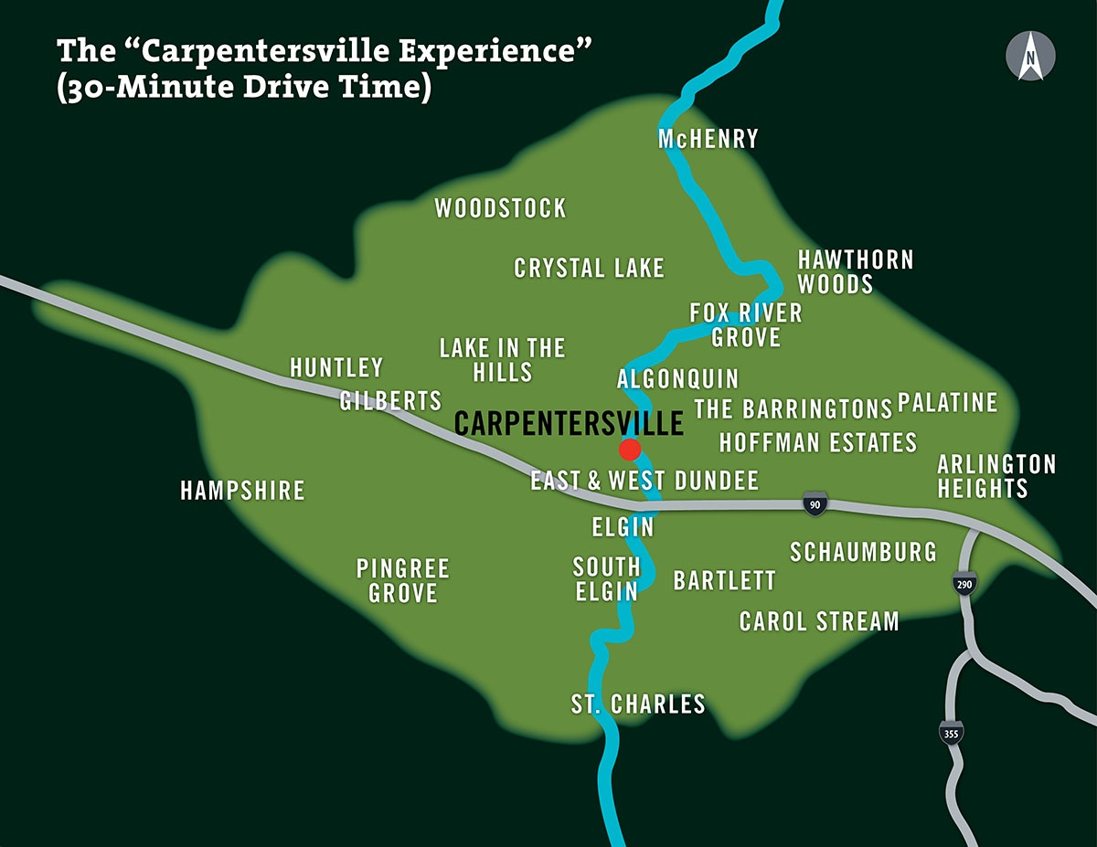 A Map of Carpentersville, Illinios